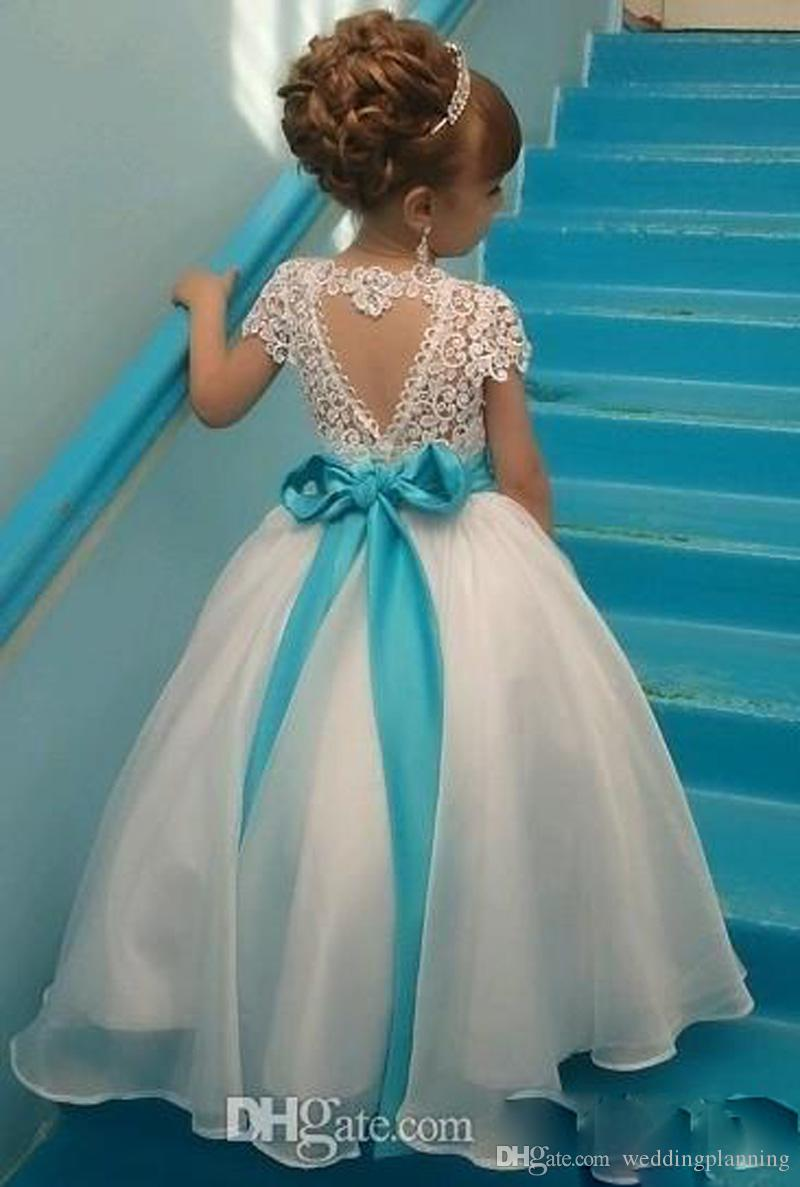 Lace Backless Flower Girls Dresses for wedding Cap Sleeves Baby Girl Birthday Party Christmas Communion Dresses Children Girl Party Dresses