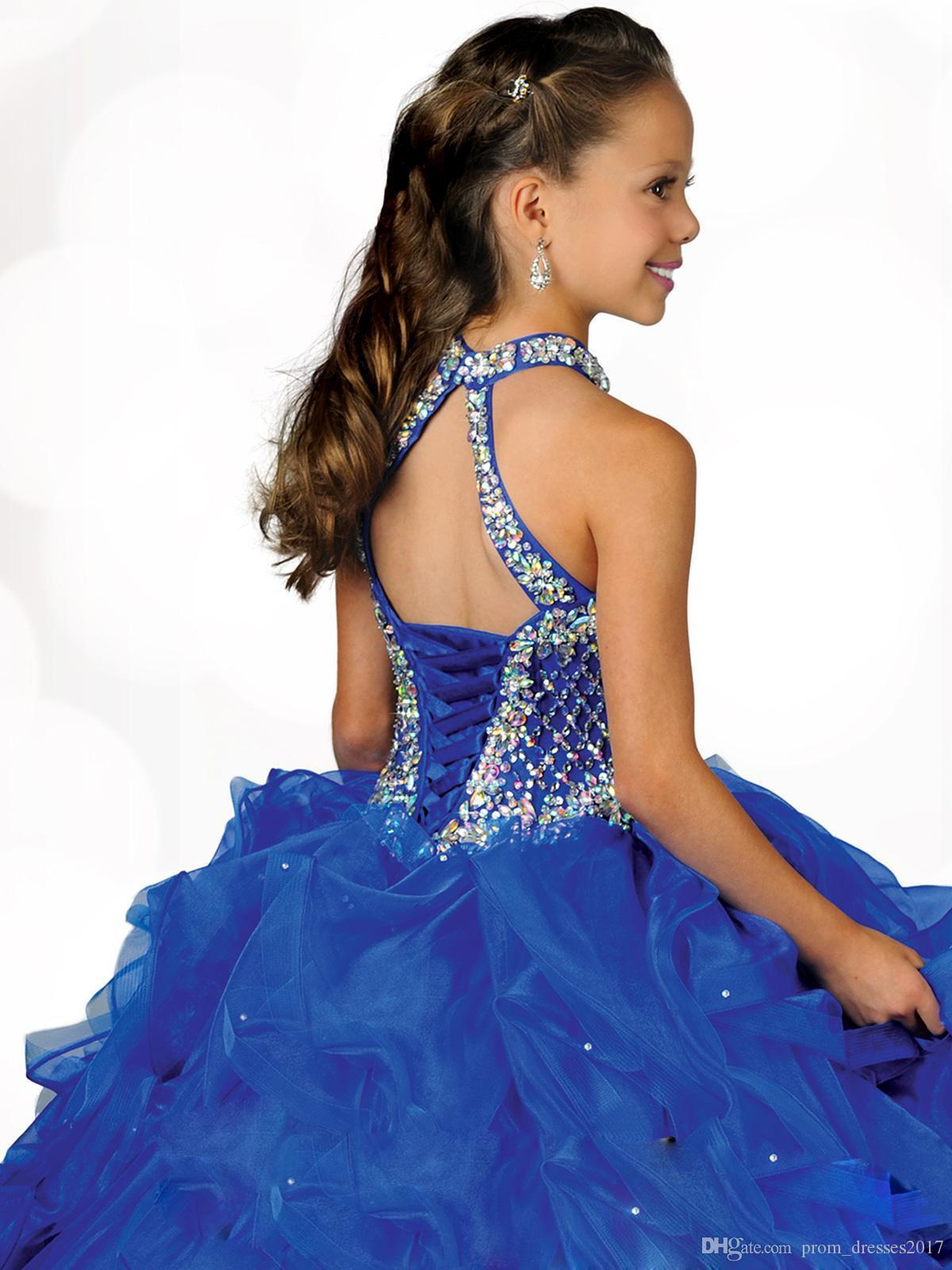 2020 Glamorous Halter High Decote Bordado Beading Beading Pequena Meninas Pageant Vestido Plissado Azul Organza Flor Meninas Dress Hy1188