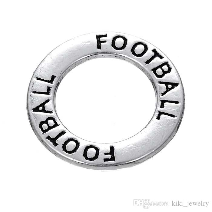 Myshape Antique silver plated Affirmation charms Engravesd Letter FOOTBALL circle charms sports jewelry for bracelet necklaces