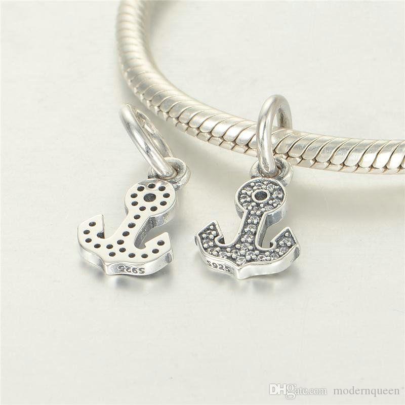 Antiguidade de prata âncora encantos pingentes s925 jóias de prata esterlina para mulheres se encaixa bracelete e colar 791533cz