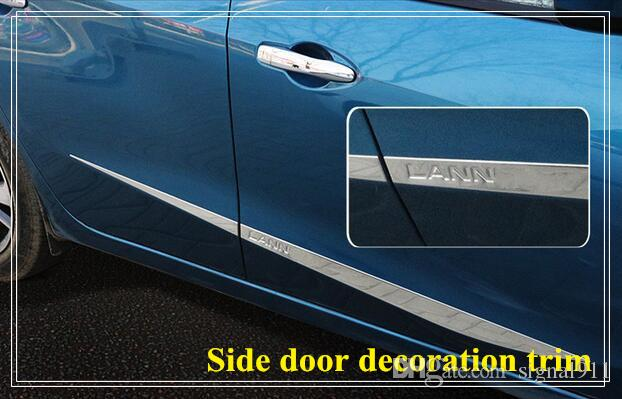 High quality stainless steel 4pcs side door decoration bight trim, door streamer,door scuff plate with logo for Nissan Lannia/bluebird 2016
