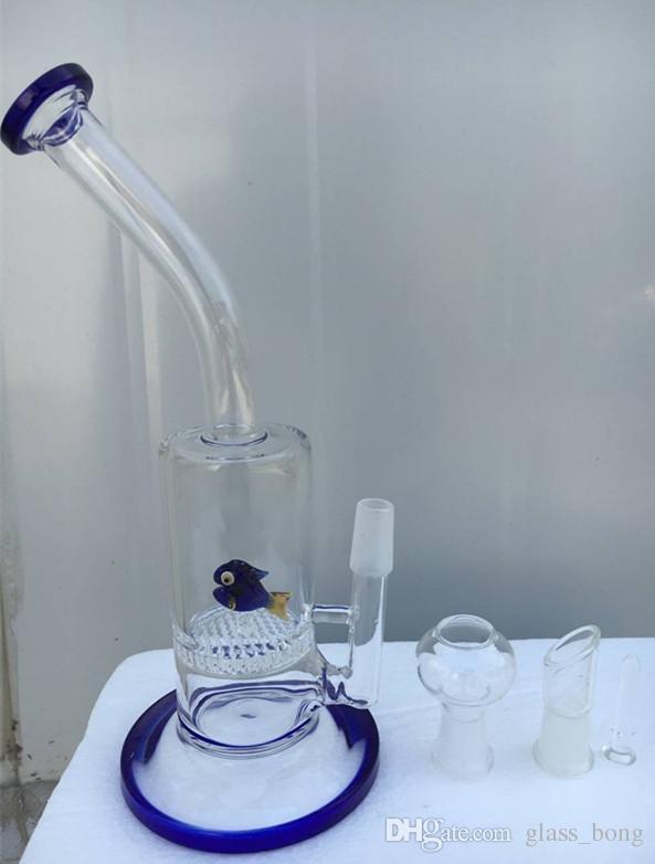 Tuberías de agua de vidrio azul con una Capa Panal y pescado Percolador de vidrio bongs plataformas petroleras con cúpula y tubos de agua de vidrio de clavos