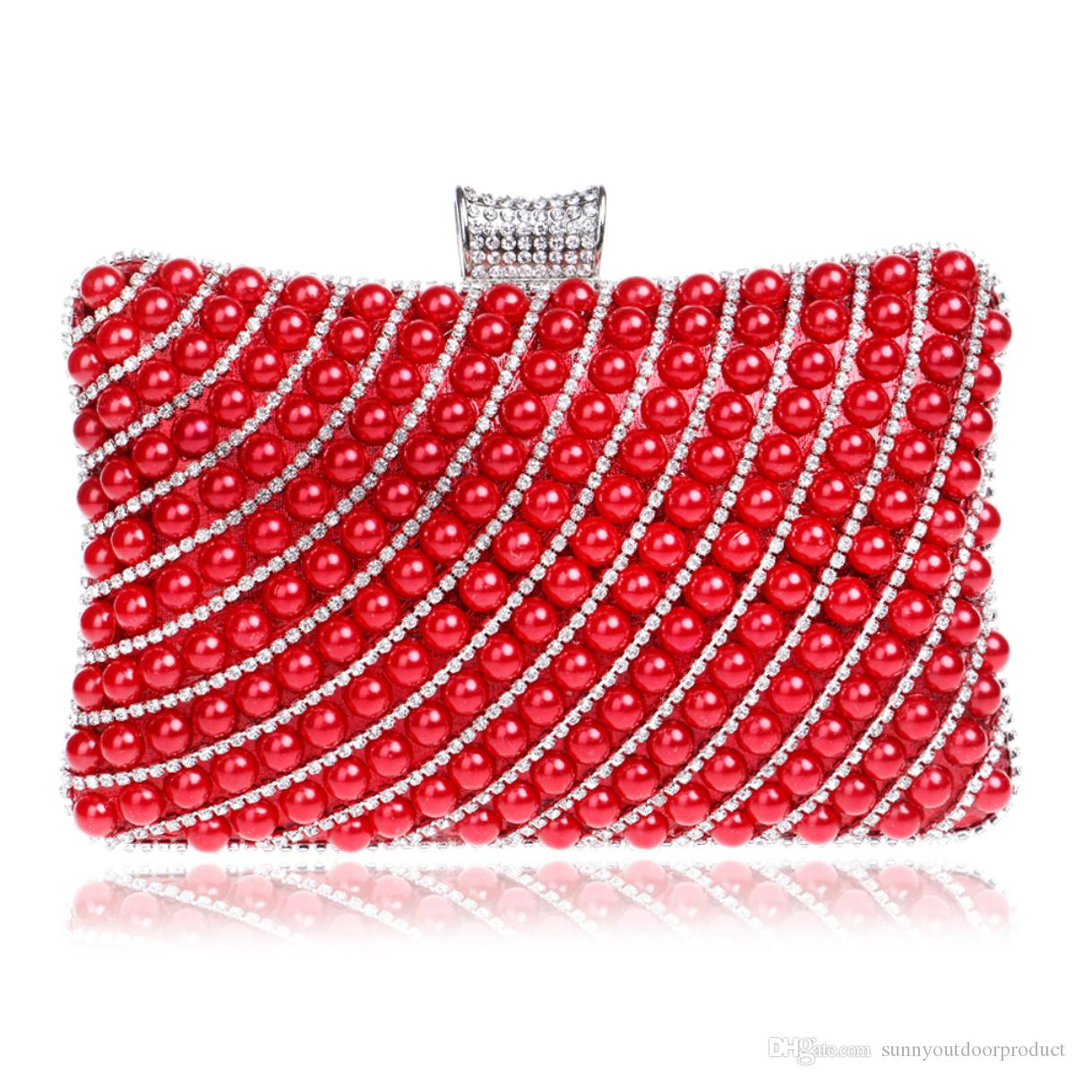 New Fashion Women Diamond Pearl Beaded Evening Clutch Bag With Finger Ring Shoulder Bag Lady Handbag Wallet Purse For Wedding Party Dinner