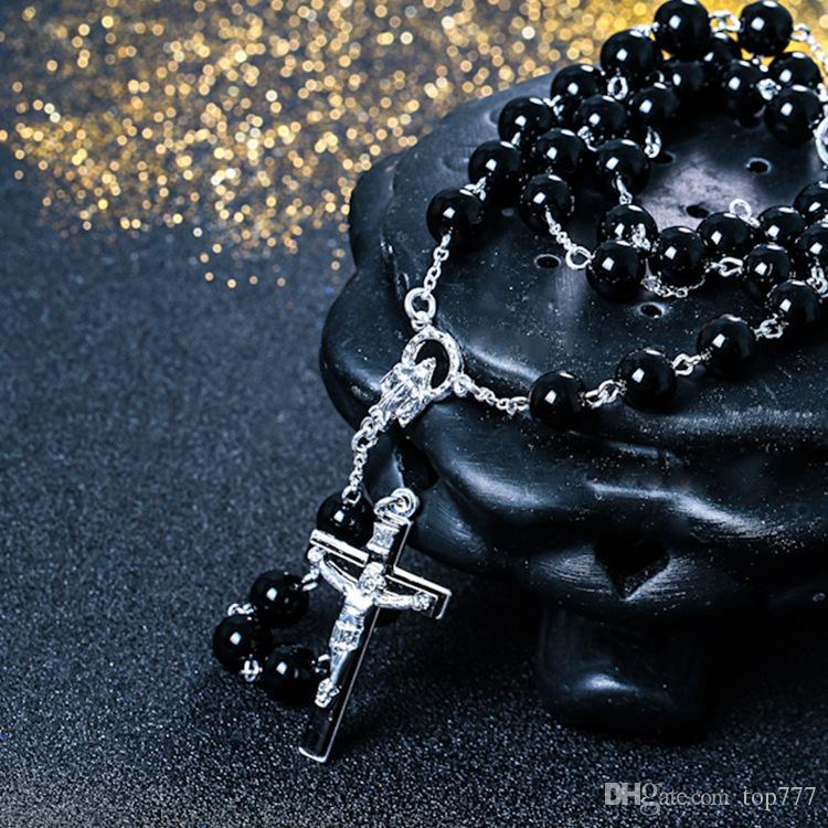 Neue Halskette Schwarze Perle Jesus Kreuz Kette David Beckham Rosenkranz Anhänger Halskette Hip Hop Schmuck