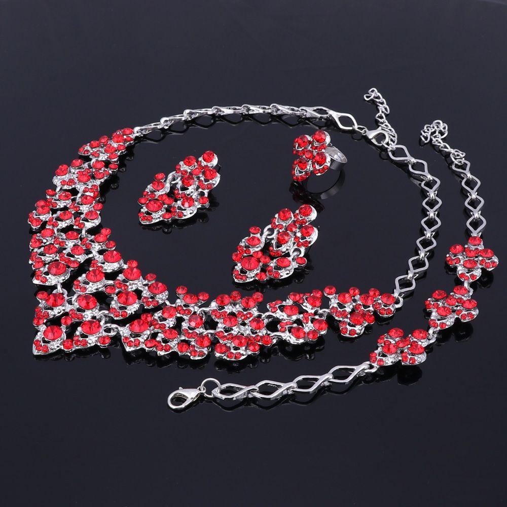 Top Requintado Cores de Prata de Cristal Embutido Cachecol Padrão Colar Pulseira Brinco Anel Africano Beads Jóias Set