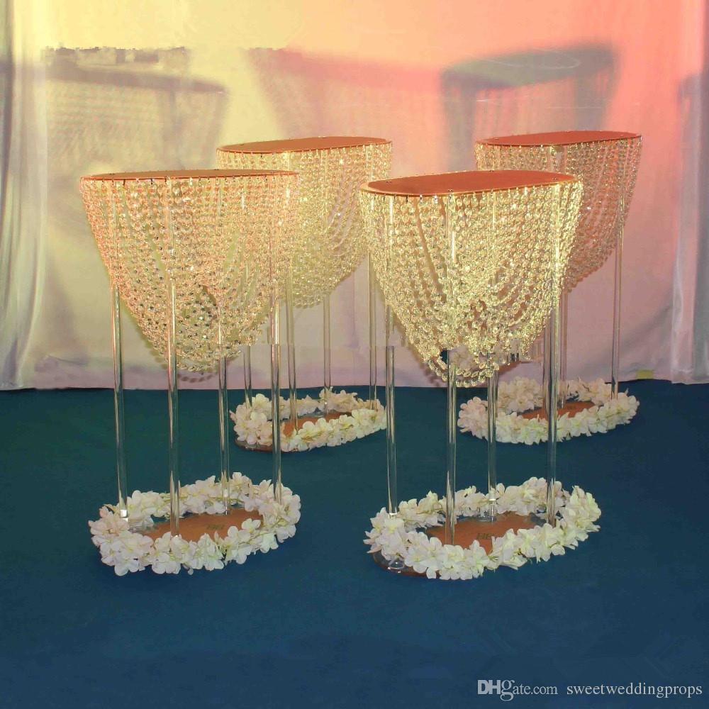 Büyük akrilik çiçek vazo düğün dekoratif vazo güçlü tabanı ile uzun boylu