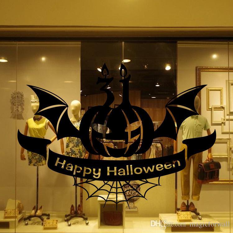 Halloween Pumpkin Bat Wall Stickers Store Window Glass Wall Art Mural Poster Festival DIY Decor Pumpkin Light Wall Applique Wallpaper Poster
