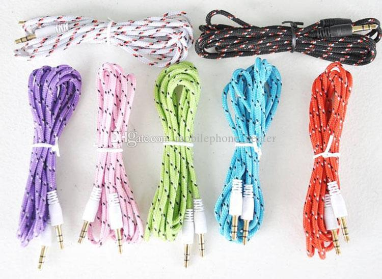 3.5mm Audio AUX Cable Braided Woven Fabric wire Auxiliary durable Cords Jack Male to Male M /M 1m 3ft Lead good quatily