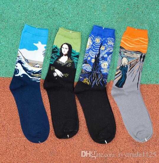 Art Style calzino donne degli uomini 100% cotone statua d'epoca della Libertà Mona Lisa Starry Sky Bacio calzini del tubo il colpo violento amanti del Medio
