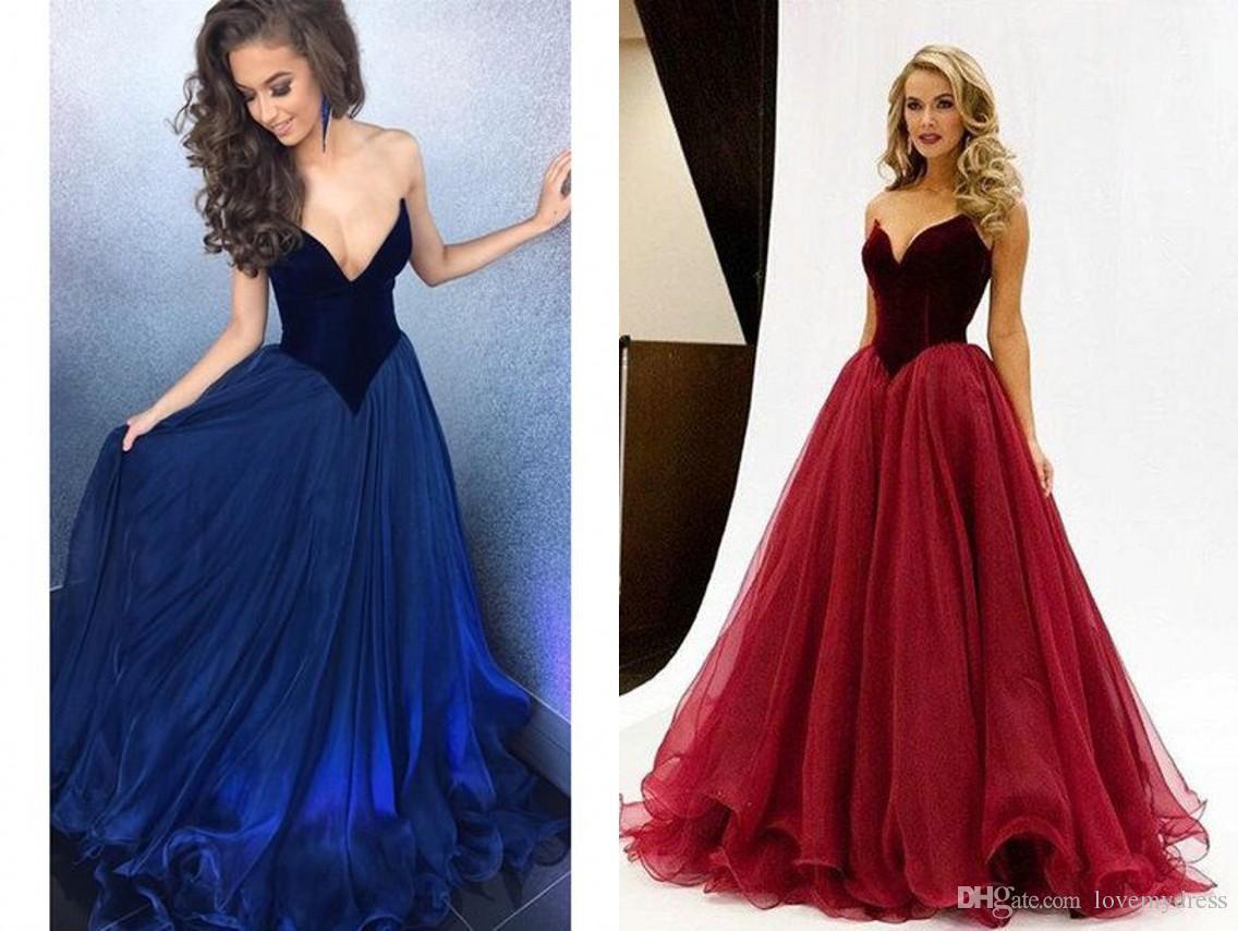 Fashion Deep V Neck Burgundy Royal Blue Velvet Pageant Dresses For ...