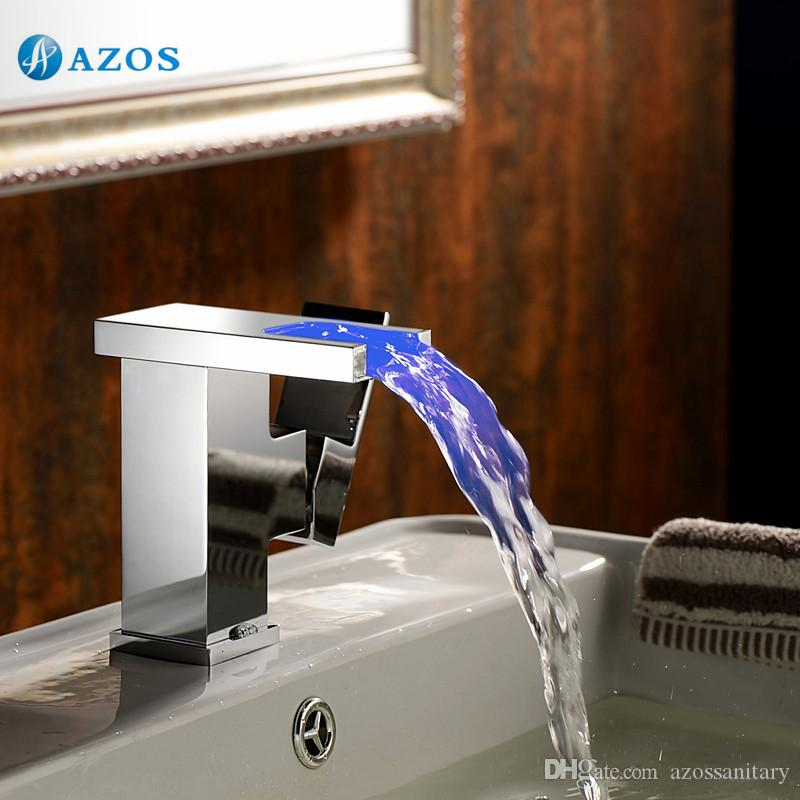 Discount Bathroom Sink Faucet 3 Led Light Color Changing Waterfall ...