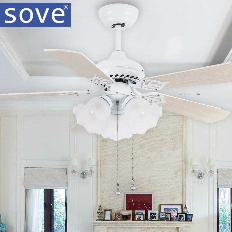 2018 Sove Modern White Ceiling Fans With Lights Living Room Dining Decoration Light Fan 220 Volt Lamp Ventilador De Teto From I