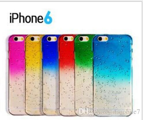 for iphone6 3D gradient effect Rainbow raindrops droplets transparent silicone Phone Case