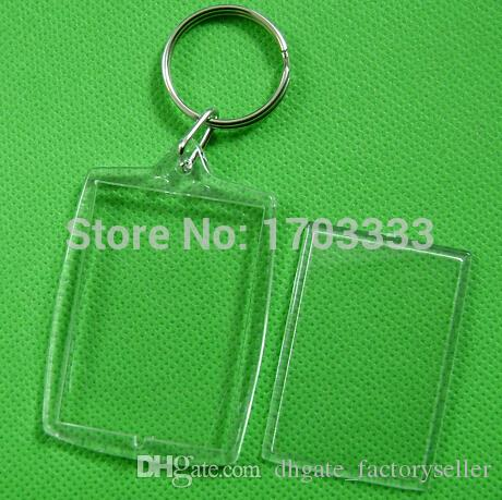Wholesale ! DIY Acrylic Blank Photo Keychains Shaped Clear Key Chains Insert Photo Plastic Keyrings DHL Fedex Free