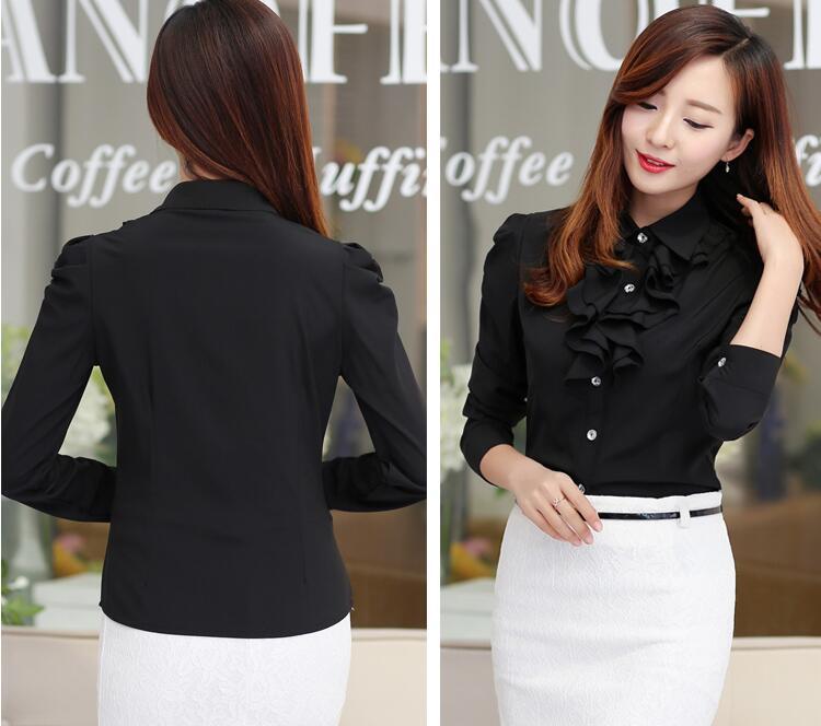 Women Ruffle Blouse 2016 Fashion White Black Lapel Neck Puff Sleeve Tops OL Formal Office Ladies Work Wear Vintage Plus size Chiffon Shirts