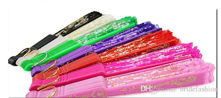 Envío gratis En stock encaje flor nupcial ventiladores hueco bambú manejar accesorios de boda Fold ventiladores de papel estilo chino para la danza
