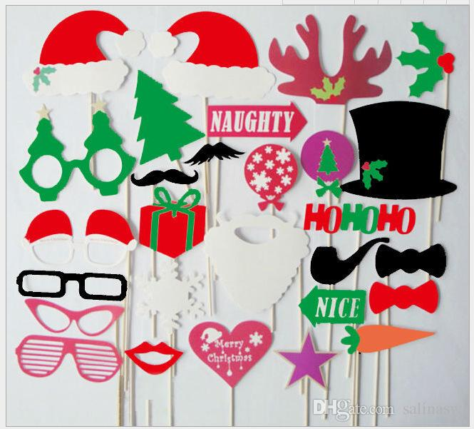 Christmas photo booth props kit set of paper props on wood stick for taking funny photos in birthday party wedding Christmas party