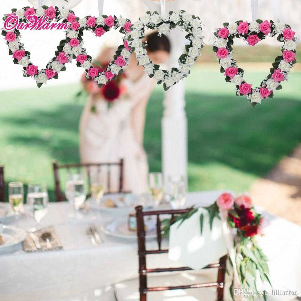 Plage De Voiture De Mariage Décoration Coeur Rose Guirlande Porte Tenture De Ruban De Soie Guirlande Artificielle Décor À La Maison Ménage Parure Fleur