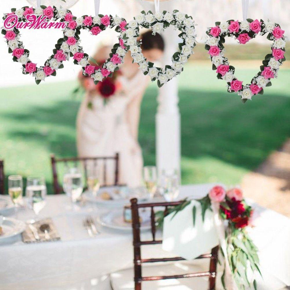 Grosshandel Strand Hochzeit Auto Dekoration Herz Rose Kranz Tur