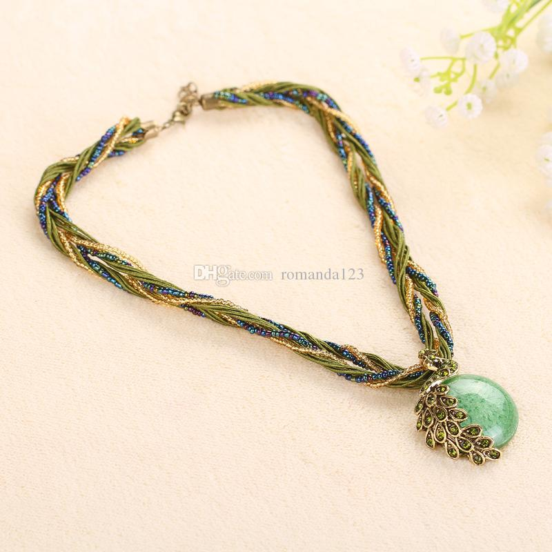 Cabochon and Crystal Peacock Pendant Necklace Multi Strands Twisted Glass Beads Choker Necklaces Popular DHL