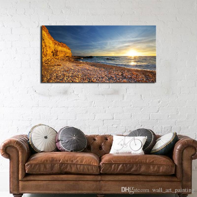 1 Picture Combination Canvas Art Picture Home Decor Sea Stone On The ...