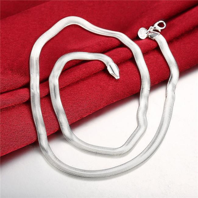Meilleur plaque d'argent collier d'os de serpent 6MM cadeau doux sterling collier STSN193, nouvelle marque mode 925 argent usine collier Chaînes