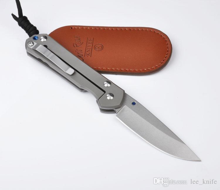 Chris Reeve sand blasting classic titanium handle D2 knife blade stone washed black leather pocket folding knife