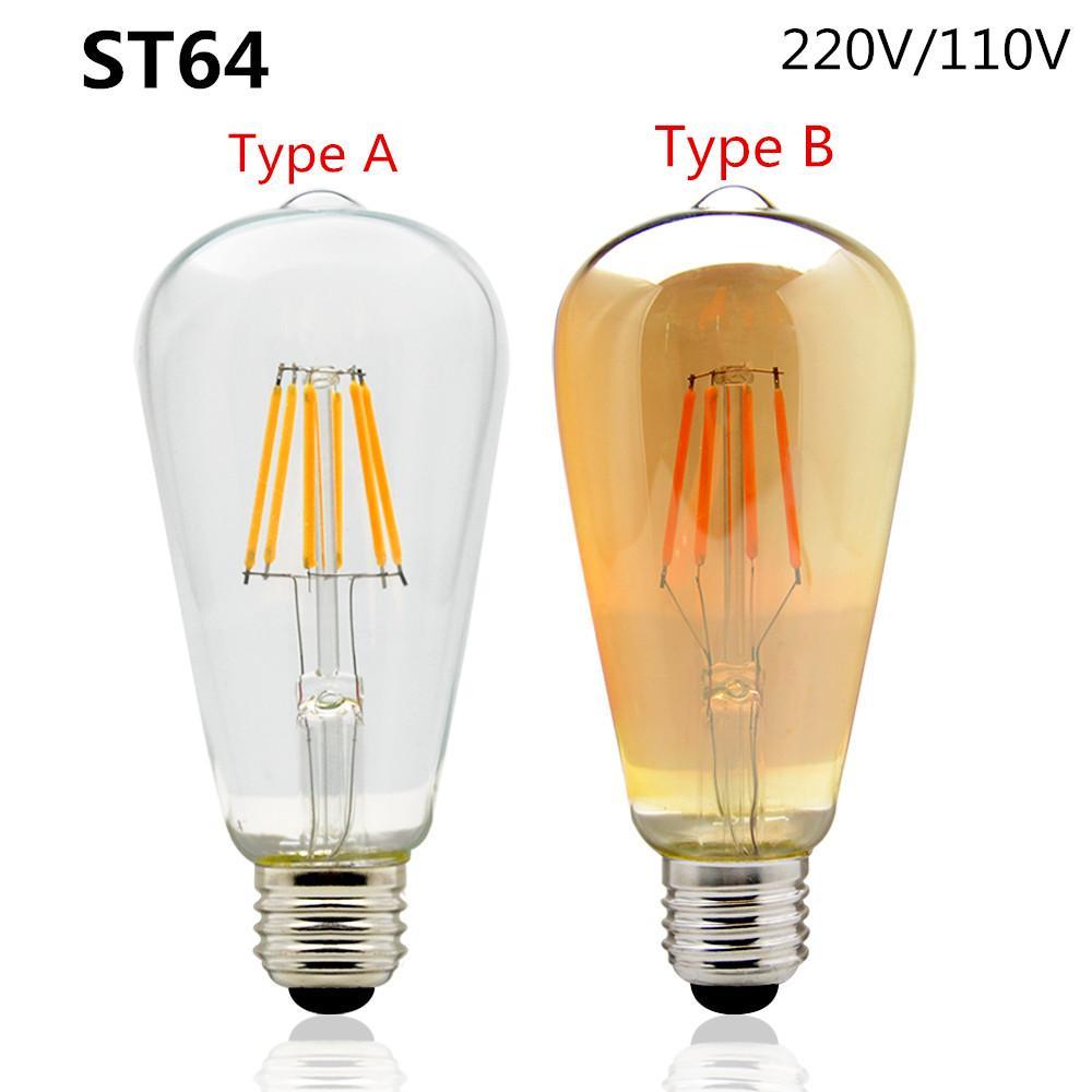 Edison Led Filament Bulb St64 Vintage Led Lamp 4w 6w 9w 220v 120v 110v  2200k 2700k Replace Incandescent Of 60w 80w 100w Lighting Led Mr16 Bulbs  1141 Led ...