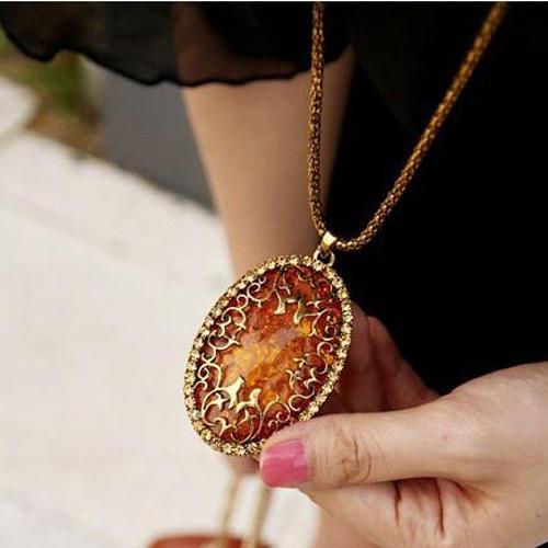 Vintage Womens Amber Hollow Out strass catena lunga collana a pendente Gioielli Retro catena lunga ambra collane ciondolo Accessori