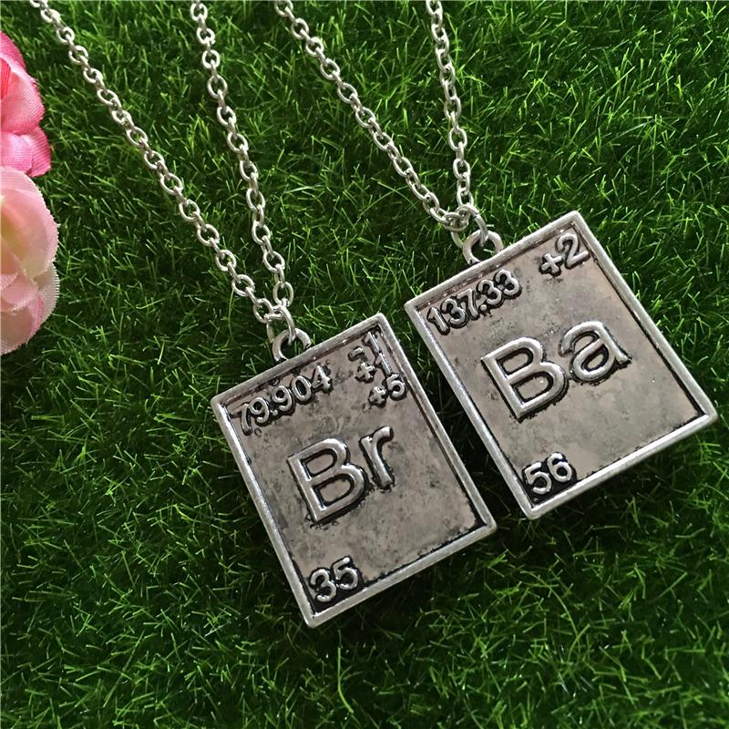 Wholesale Breaking Bad Necklace Chemical Symbol Br Ba 2 Square