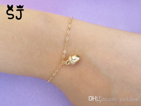- B048 Cute Cartoon Pinecone Bracelet Tiny Acorn Bracelet Minimal Pine Cone Bracelet Small Squirrel Nut Bracelets for Women