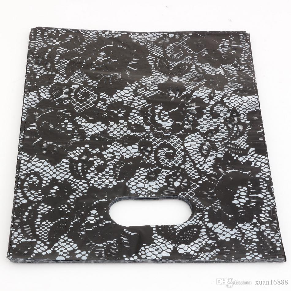 Горячие продажи! Ювелирные изделия .200 шт. 20x25см Черные кружевные пластиковые пакеты ювелирные изделия подарочная сумка.