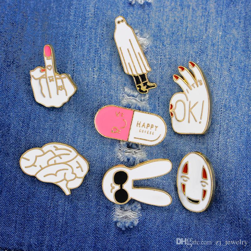 Cartoon OK Mask Rabbit Middle Finger Brain HAPPY Capsule Brooch Pin Metal Enamel Pin Button Jacket Backpack Icon Badges Jewelry