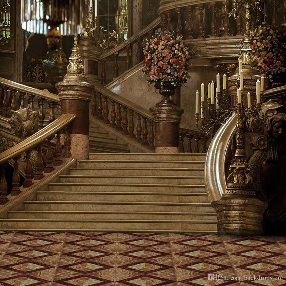 Vintage Castle Staircase Fairy Tale Photography Backdrop