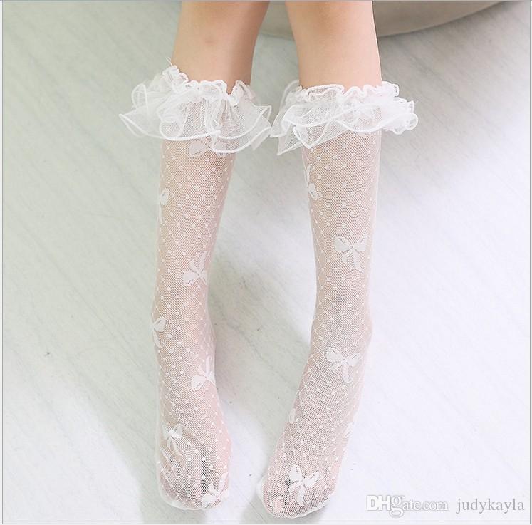 2019 meisjes kanten sokken kinderen kanten net garen kousen schattig meisje strik midden buis sokken kinderen knie-hoge kous gratis maat 4 kleuren