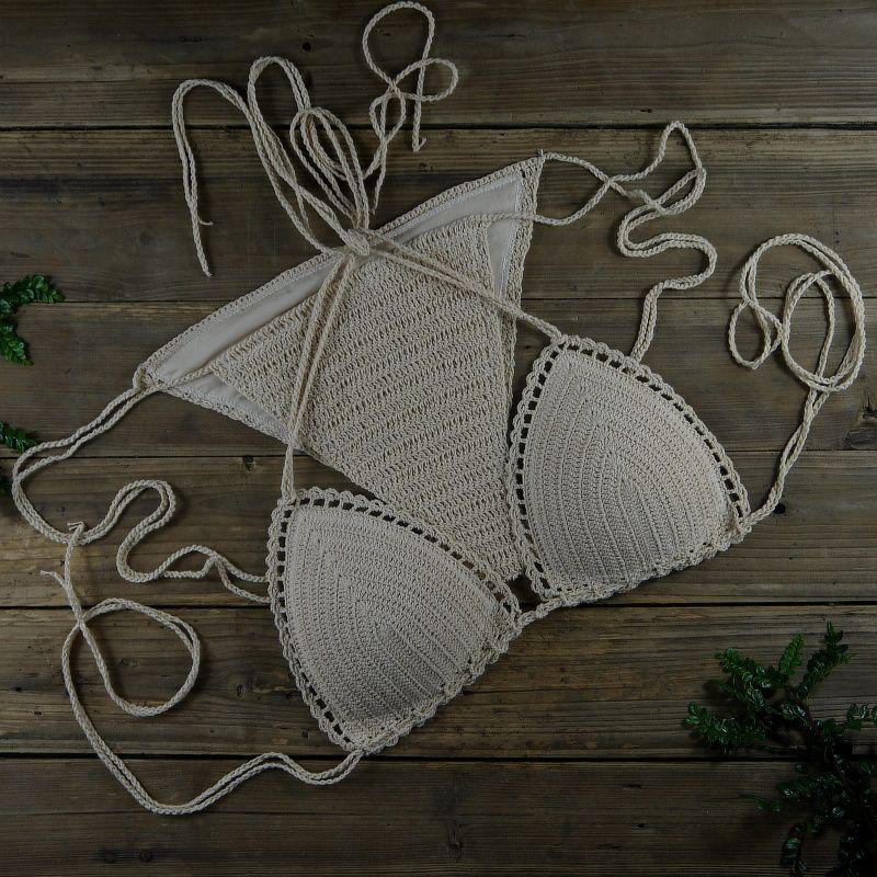 Ropa de mujer a mano Beach Swimwear Beige Sexy Crochet Bikini Set - bañador de algodón con forro de color 10