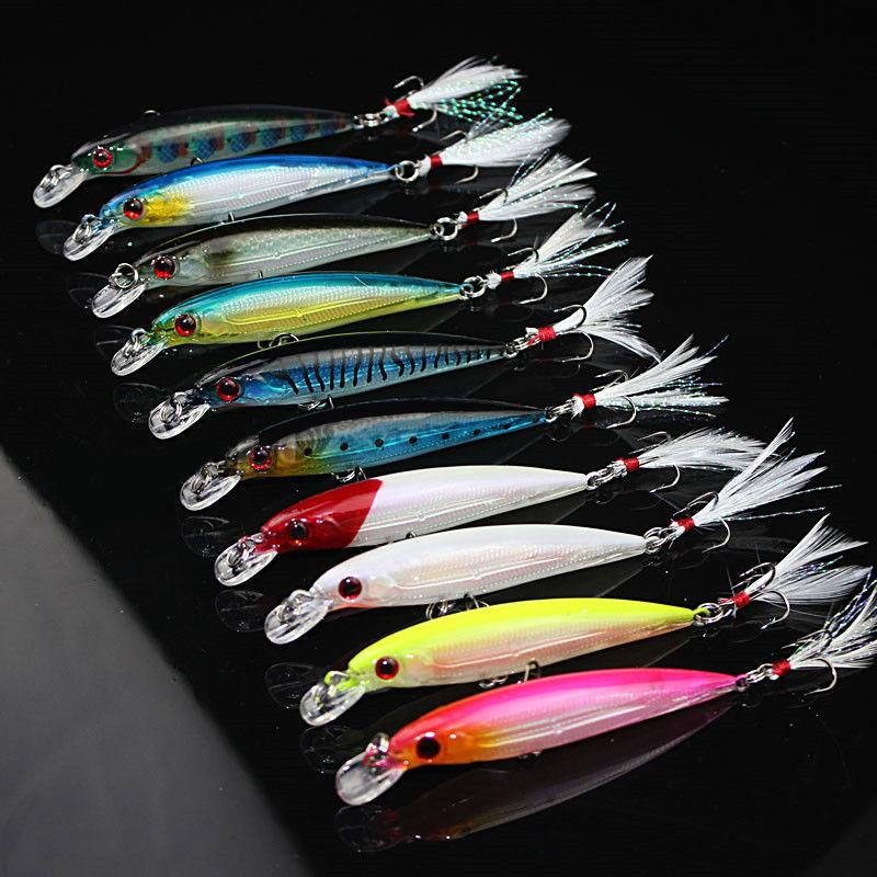 10pcs/Lot Minnow Fishing Lures Bait Bass CrankBaits Tackle Feather Hook 9cm/8g 10pcs/Lot Plastic Hard Fishing Lures