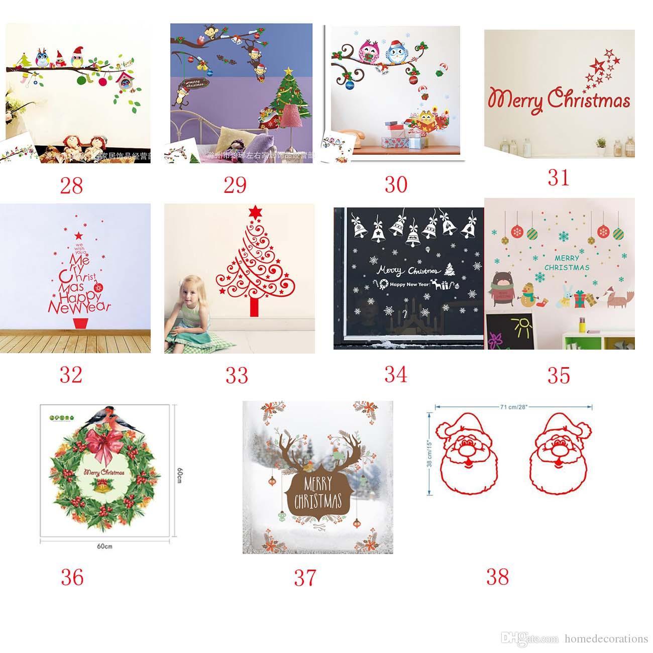 38 estilo Extraíble DIY Feliz Navidad Pegatinas de Pared Decoración de Papá Noel Regalos Árbol Ventana Pegatinas de Pared de Vinilo Tatuajes de Pared de Navidad Decoración