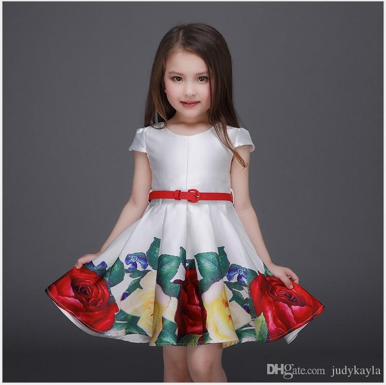 d77d651c7c88 2018 New Big Girls Flower Printing Princess Dress Children Short Sleeve Summer  Dresses Kids Clothing Cute Girl Tutu Dress With Belt Big Girls Summer Dress  ...