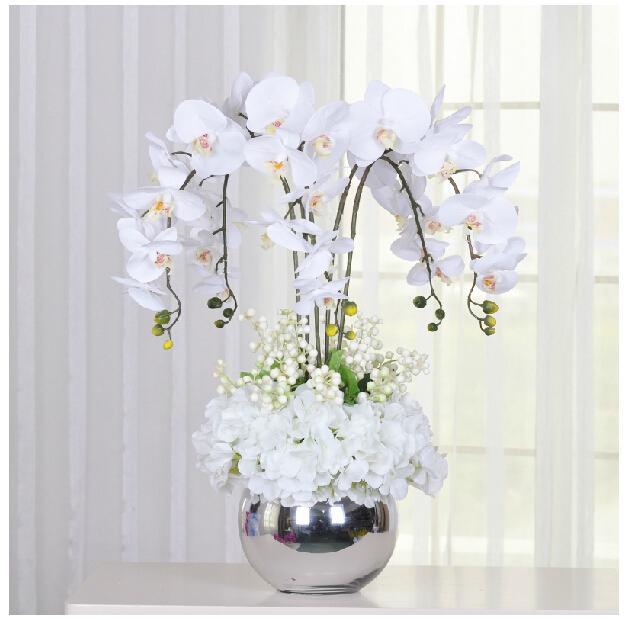 compre arreglo de flores blancas orqu deas real touch flower wedding party flower fake flower. Black Bedroom Furniture Sets. Home Design Ideas
