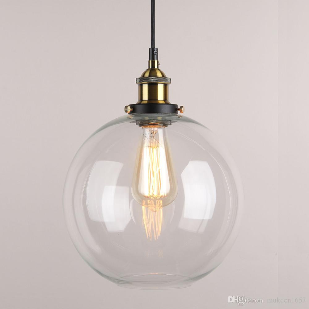 9 X Inch Globe Vintage Industrial Ceiling Lamp Clear Glass Chandelier Pendant Lighting For Kitchen Island Loft Shade Fixture Pulley Light Cool