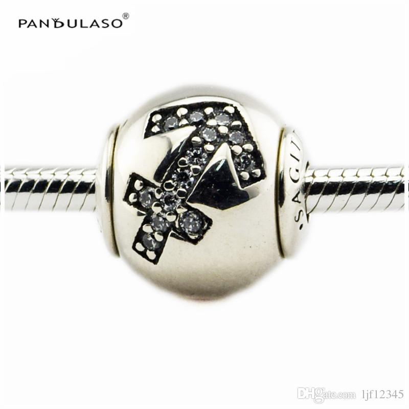 SAGITTARIUS with CZ Charm Essence Collection Fits Pandora Bracelets 2.5mm Hole Sterling-Silver-jewelry Beads For Woman Wholesale