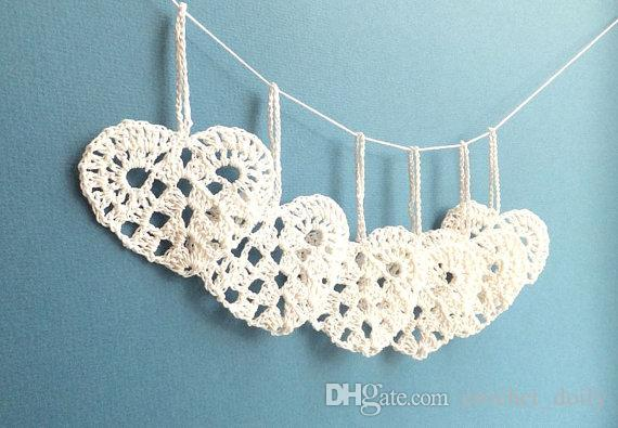 White lace hearts decorations Wedding decorations crochet hearts white hearts ornaments Christmas tree ornaments set of 12