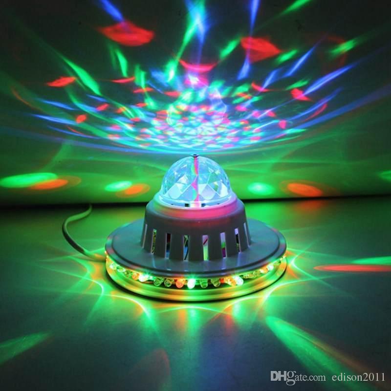 Edison2011 8W Full Color LED Light Sunflower Bulb Lamp Auto Rotating MP3 Crystal Stage Light DJ KTV Club Family Party Effect Light
