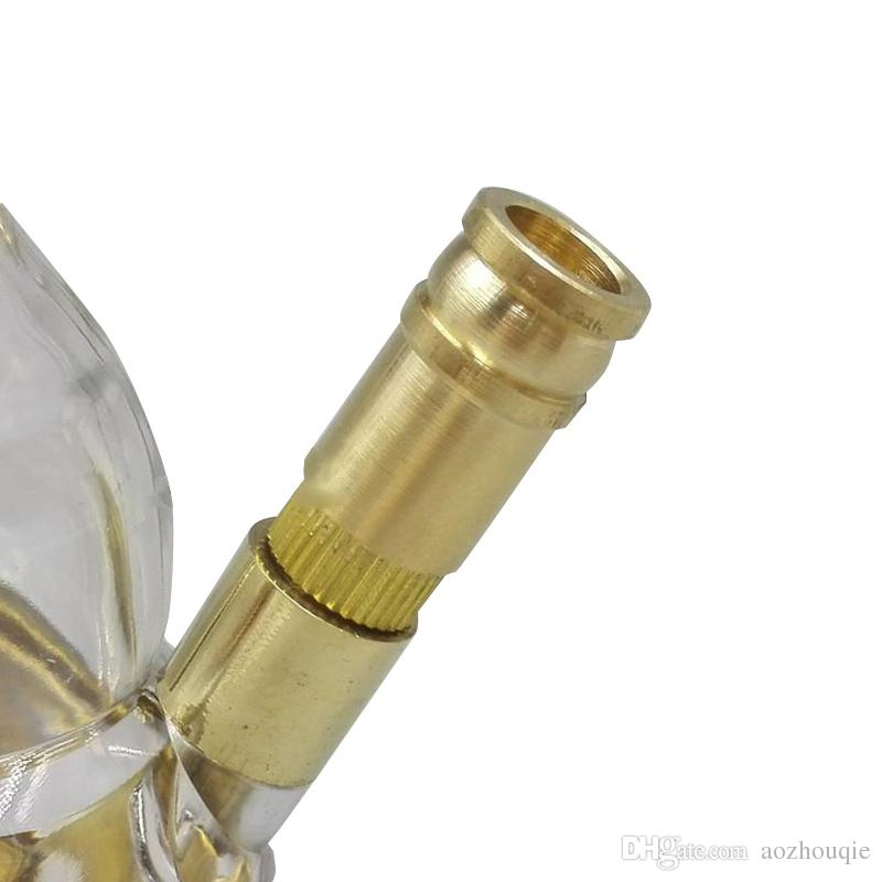 Atacado tubos de vidro portáteis de Bronze Forma de cabaça Tubos de Tabaco Cachimbos de Água Cachimbo de Água Do Vintage De Cobre De Metal Acrílico Hookah Bongs