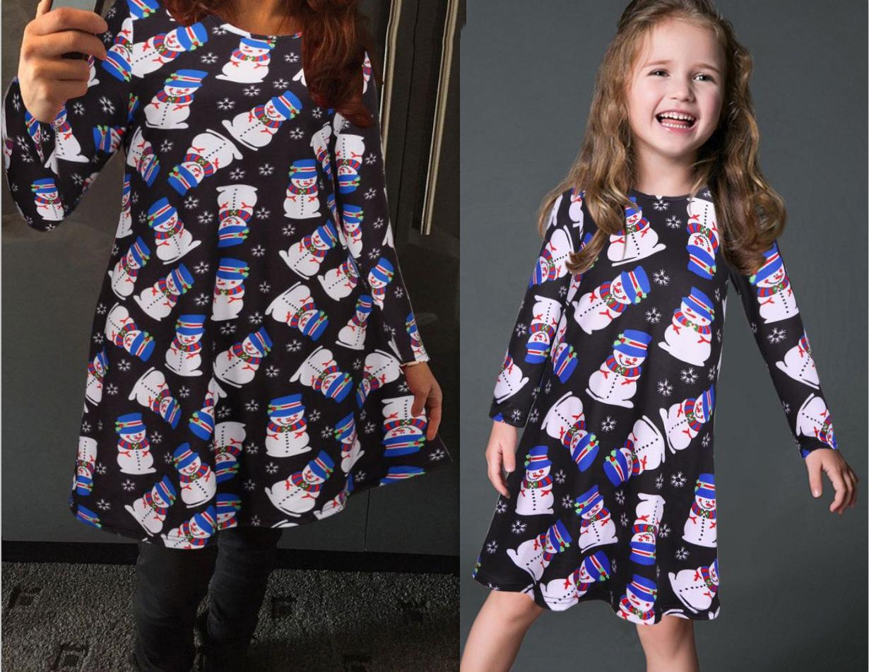 2017 Mother Daughter Dresses European style Mom and Me Snow Man Matching Dress Mother and Maughter Clothes for Party Christmas Gifts