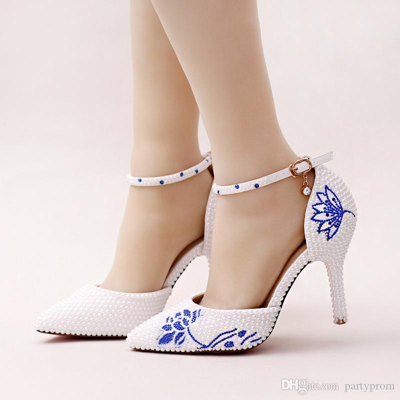 2017 New White Pearl Pointed Toe Wedding Shoes Gorgeous Design Blue  Rhinestone Flower Bridal Dress Shoes With Ankle Straps Teal Bridal Shoes  Unusual Bridal ... f618b16b3e94