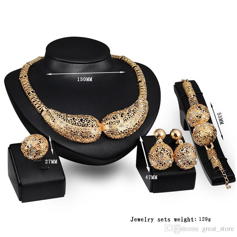 En ligne Vente Géométrie solide Bijoux Ensembles de bijoux Gemstone Blanc Collier Bracelet Boucles d'oreilles Bagues 18K Gold Bijoux Famille de quatre GTOMKS045