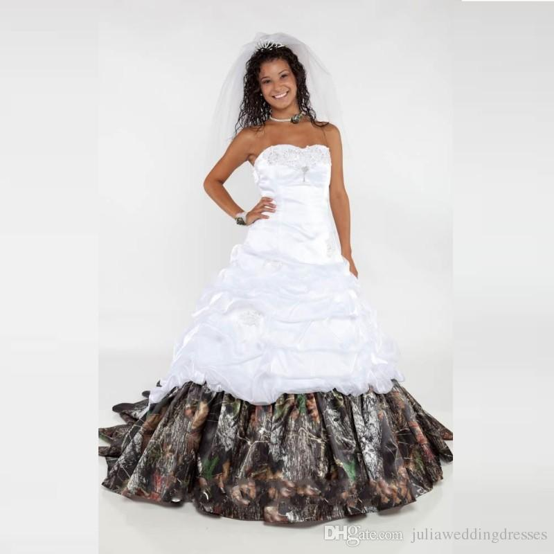 Shop Wedding Gowns: Discount 2016 Elegant Camo Wedding Dresses Sweetheart