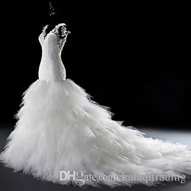 아랍어 스타일 플러스 사이즈 웨딩 드레스 2016 트럼펫 / 인어 웨딩 드레스 화이트 코트 트레인 V 목 레이스 Tulle 신부 드레스